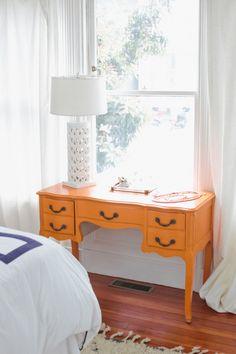 white bedroom with orange desk, burnt orange, rust orange, curry orange, sherwin williams cut the mustard