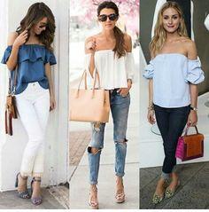 Decotes são sempre usados para valorizar a beleza feminina. Aposte nas blusas com babados para ficar por dentro das tendências da moda♡