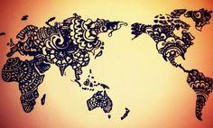 Henna-filled world outline By Bella Salvatore