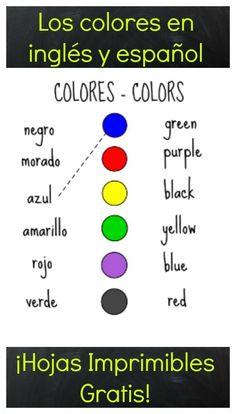 Los colores en ingles y espanol - #imprimibles