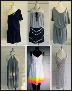 Hey Everyone. I thought  that I would compile a little group of  summer dresses I  made out of T-Shirts, Scarfs, and one I just added some color to, perfect for a summer day. Here are 6 of my Summer D