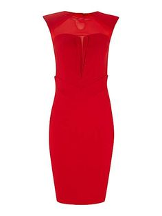 Paper Dolls Sheer top bodycon shift dress featuring mid Length,rounded collar,short-sleeved and zip fastening.