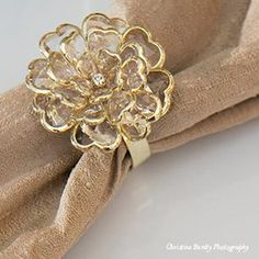 These beautiful ♡Gold Peony♡ napkin rings will look amazing with any color theme you choose for your special occasion. #glowconcepts, #linens, #weddings, #weddingdecor, #weddinglinens, #weddingdesign, #weddingtrends, #weddingfabric, #weddingtables, #chaircovers