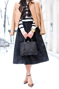 Blogger With Love from Kat pairs her Tibi simona jacquard skirt w/ camel and stripes