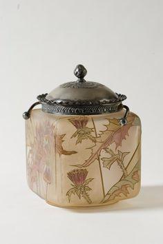 Mt Washington Royal Flemish Cookie Jar - 7.75 inch HOA Thistle Deoration. Signed RF