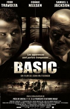 Basic , starring John Travolta, Samuel L. Jackson, Connie Nielsen, Tim Daly. A DEA agent investigates the disappearance of a legendary Army ranger drill sergeant and several of his cadets during a training exercise gone severely awry. #Action #Mystery #Thriller