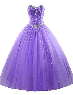 Prom ball gown tulle sweetheart beaded quinceanera dress purple us