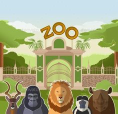 Buy Zoo Gate with African Flat Animals by Amplion on GraphicRiver. Vector image of a zoo gate with african flat animals Forest Animals, Zoo Animals, Zoo Drawing, Tiger Sketch, Lion Vector, Kids Zoo, Tropical Background, Nature Vector, Cute Love Cartoons