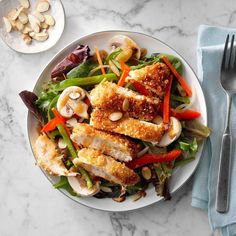 50 Chicken Dinners Ready in 30 Minutes Asian Chicken Salads, Chicken Salad Recipes, Healthy Chicken, Ginger Salad Dressings, Asian Recipes, Healthy Recipes, Healthy Meals, Quick Meals, Spring Mix Salad