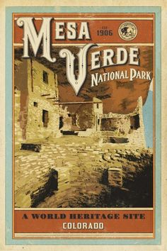Mesa Verde National Park ~ Hike and Draw National Park Posters, National Parks Usa, Parc National, Verde Vintage, Wpa Posters, Retro Posters, Voyage Usa, Holidays To Mexico, Park Art
