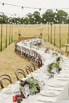 A beautiful twist on the long family style table is adding a curved shape to the set up!