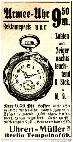 Original-Werbung/ Anzeige 1917 - UHREN MÜLLER / BERLIN - TEMPELHOF - ca. 40 x 75 mm