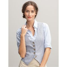 Banana Republic Linen vest, found on polyvore.com