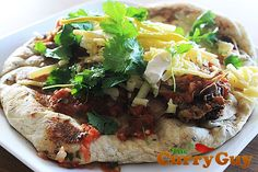 Indian street food: homemade naan with filling