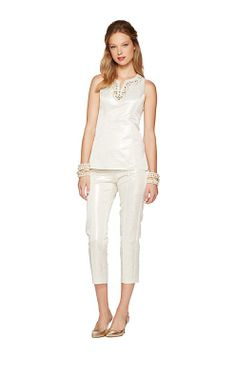 Lilly Pulitzer Fall '13- Terrace Top & Stella Pant in Cameo White Metallic Scallop Jacqurd