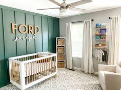 Baby Room Decor, Nursery Room, Kids Bedroom, Nursery Wall Shelf, Green Accent Walls, Accent Wall Colors, Baby Boys, Baby Boy Rooms, Accent Wall Bedroom