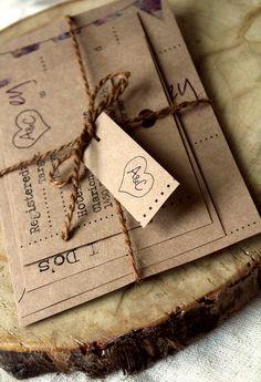 Rustic Brown Paper-Bag Wedding Invite Set
