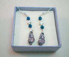Silver owl earrings silver star earrings starry night