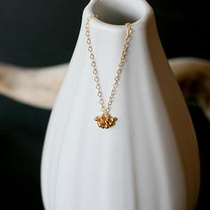 pelota  tiny gold necklace by elephantine by elephantine on Etsy