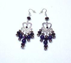 Handmade Dangle Earrings in Dark Purple and by BeadsFromHaven, $12.50