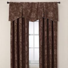 Jacobean Rod Pocket/Back Tab Window Curtain Panels and Valance - BedBathandBeyond.com  No Valance