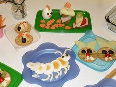 Mato munanen ja pupujussikat . Takana hiiret keksillä : kotijuustoa ja oliivia ja porkkanahäntä. Tipumuna helposti porkkanaa ja pippuria koristeeksi. Voileipä eri tavalla:  laiva + purje erilaisin lisukkein. .