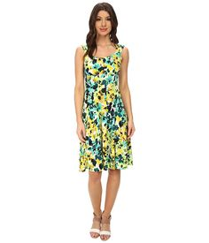 $49.99 ~ London Times Cap Sleeve Pleat Neck Fit and Flare Dress