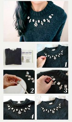 Elegant Rhinestone DIY Sweater - 13 Tremendous Cool DIY Garments Refashion Concepts You Should Strivpedaria com cola pra tecido DIYDIY Embellished Women Sweater Ideas are customization of simple sweaters and turning them into more useful one's by put Diy Clothes Refashion, Shirt Refashion, Diy Clothing, Sewing Clothes, Refashioned Clothes, Dress Clothes, Diy Shirt, Diy Pullover, Alter Pullover