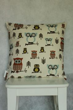 Chevron Hoot Cushion/Pillow Cover 18 46 cm by LukaMish on Etsy, $30.00