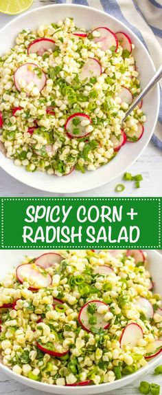 Quick + easy spicy corn radish salad with cilantro and a zesty lime vinaigrette -- perfect as a healthy spring or summer side! | www.familyfoodonthetable.com