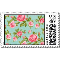 Girly Cottage Chic Romantic Floral Vintage Roses Postage Stamps