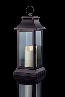 Check out the deal on 15 Inch Black Lantern With Luminara Candle - Timer at Battery Operated Candles