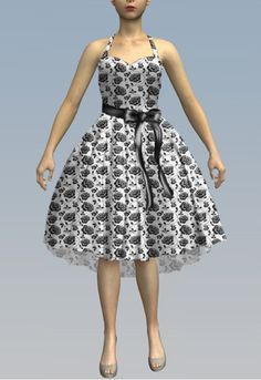 Retro Swing Dress with High Low Hem. by Amber Middaugh print by Julie Rojas