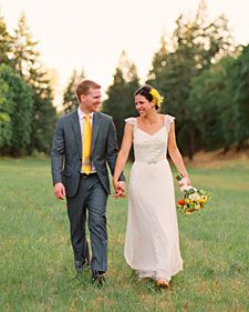 After four years of dating and an even longer friendship, couple Alivia and Scott tied the knot on August 14, 2010, in their home state of Oregon. They set out to create a personal and mostly DIY wedding, and with its rustic details, eco-friendly touches, and modern yellow-and-gray palette, the summer celebration fit the couple perfectly.