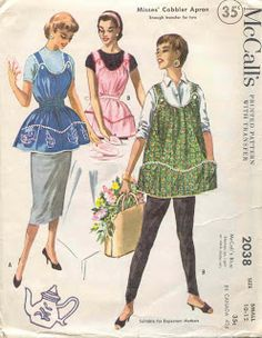 Vintage McCalls 2038 Misses Cobbler Apron or Maternity Apron Sewing Pattern Size Large Bust