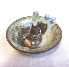 Rustic Ring Storage, blue birds ring cone cottage ceramic ring dish wheel thrown handmade jewelry storage earring dish bronze brown boho by FunNFiber on Etsy