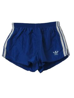 -Adidas Made in USA- Mens blue and white side seam three stripe print nylon elastic waist totally short shorts with polyester/cotton blend brief and back right patch pocket. Mens Striped Shorts, Mens Linen Shorts, Blue Shorts, Blue Pants, Retro Shorts, Mini Shorts, Short Shorts, Adidas Shorts, Adidas Men