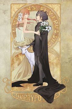 Tags: Anime, Lily, Deer, Harry Potter, Art Nouveau, White Flower, Severus Snape