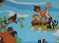 Vintage children fabric bambi by XoEinDing on Etsy