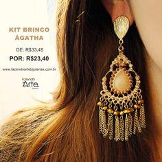 KIT PARA MONTAGEM Brinco Ágatha 30% OFF!!!  Maravilhoso!!! ❤ Compre agora o seu KIT por APENAS R$23,40!!! www.fazendoartebijuterias.com.br