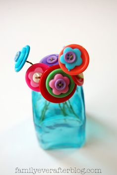Family Ever After....: Kid Craft: Button Flower Bouquet