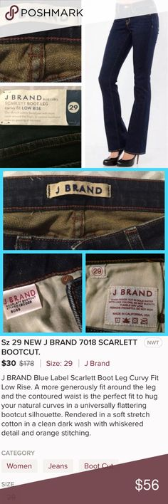J Brand Scarlett Curvy Bootcut *NWT* These awesome jeans are a substantial, stretch denim in a popular dark wash with whiskering in all the right places. J Brands blue label, curvy fit was made to accentuate feminine curves while preventing the common waist gap. Wish these fit me!! J Brand Jeans Boot Cut