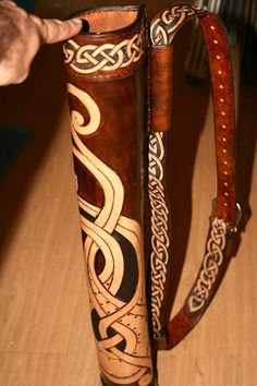 Beautiful Handmade Archery Quiver - Reenactment Leather Celtic Viking Design by darkagesleather1 on Etsy, £255.00