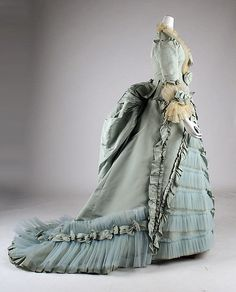 Dinner dress A. Corbay (French) Date: 1873 Culture: French Medium: silk Dimensions: Length at CB (a): 22 in. (55.9 cm) Length at CB (b): 77 in. (195.6 cm) Credit Line: Gift of Mrs. James G. Flockhart, 1968