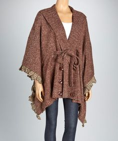 Take a look at this Brown Mohair-Blend Ruffle-Trim Cape by Orange on #zulily today! $40 !!