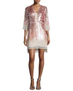 Half-Sleeve Embellished Sheath Dress, Sorbet by Halston Heritage at Neiman Marcus.