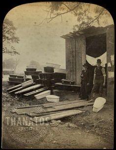 Temporary morgue for flood victims,  1889, USA.