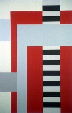 Juhana Blomstedt: Rød, 1991, serigrafi, 55,55x36cm - Kunst på Arbeidsplassen Constructivism, Finland, Flag, Stripes, Textiles, Abstract, Painting, Kunst, Summary