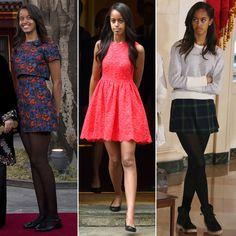 Malia Obama turns 17 years old today. See how her style has transformed. Obama Sisters, Malia And Sasha, Malia Obama, 17th Birthday, Taffeta Dress, Sartorialist, First Daughter, Daddys Girl