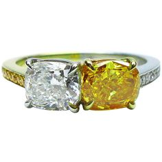 Pre-owned GIA Certified Diamond Gold Platinum Twin Ring ($40,100) ❤ liked on Polyvore featuring jewelry, rings, cocktail rings, round diamond ring, yellow ring, yellow diamond ring, yellow gold rings and gold diamond rings